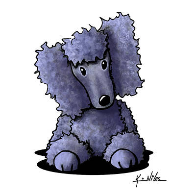 Kiniart Digital Art - Blue Poodle by Kim Niles