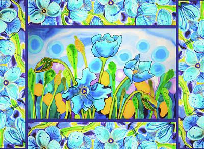Painting - Blue Poppies 1 With Border by Lee Vanderwalker