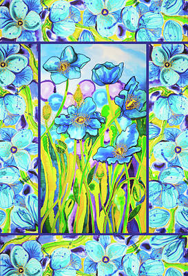 Painting - Blue Poppies 2 With Border by Lee Vanderwalker