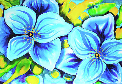 Painting - Blue Poppies 4 Belize by Lee Vanderwalker