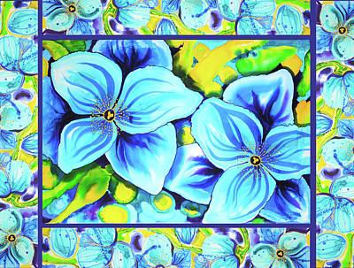 Painting - Blue Poppies 4 With Border by Lee Vanderwalker