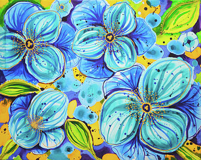 Painting - Blue Poppies 5 Belize by Lee Vanderwalker