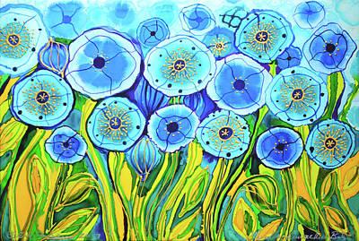 Painting - Blue Poppies 8 by Lee Vanderwalker