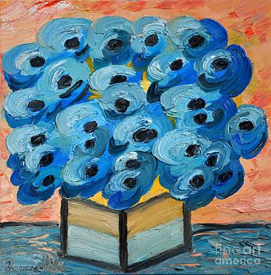 Blue Poppies In Square Vase  Art Print