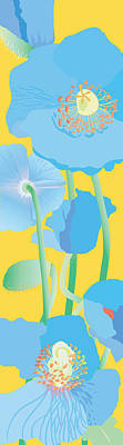 Wall Art - Painting - Blue Poppies by Marian Federspiel