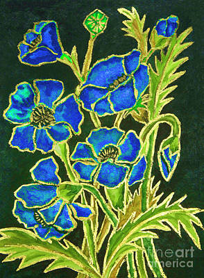 Painting - Blue Poppies On Black Background, Painting by Irina Afonskaya