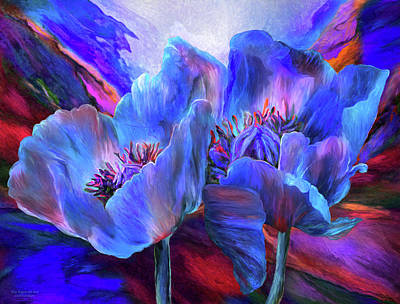 Mixed Media - Blue Poppies On Red by Carol Cavalaris