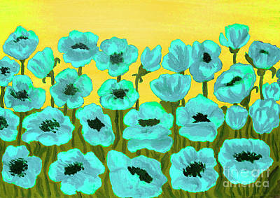 Painting - Blue Poppies, Painting by Irina Afonskaya