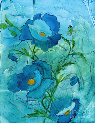 Curated Beach Towels - Blue Poppies, Watercolor on Yupo by Conni Schaftenaar