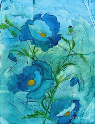 Blue Poppies, Watercolor On Yupo Art Print