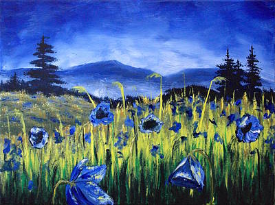 Blue Poppies Original by Wayne Cantrell