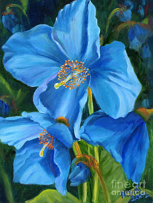 Blue Poppy Art Print by Renate Nadi Wesley