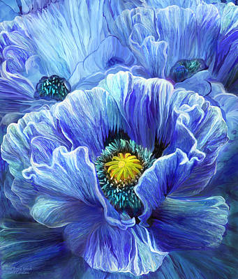Mixed Media - Blue Poppy Splash by Carol Cavalaris