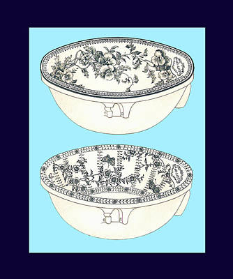 Mixed Media - Blue Porcelain Bowls Two by Eric Kempson