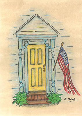 Old Glory Drawing - Blue Porch by Carol Neal