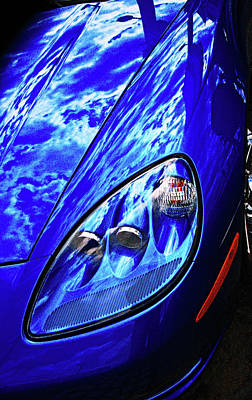 Photograph - Blue Porsche, Detail. by Bill Jonscher