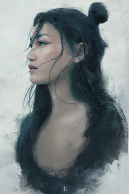 Women Painting - Blue Portrait by Eve Ventrue