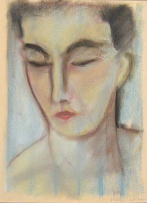 Drawing - Blue Portrait by John Keaton