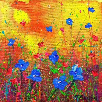 Painting - Blue Posies II by Tracy Bonin