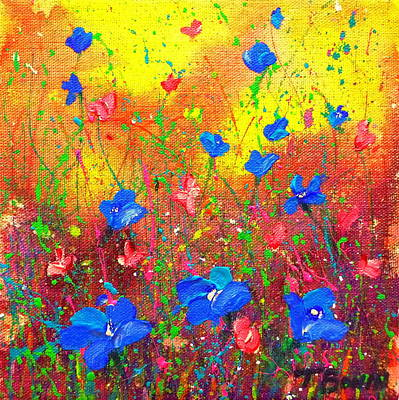 Blue Posies Art Print by Tracy Bonin