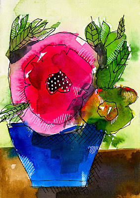 Blue Pot Pink Petals Art Print by Tonya Doughty