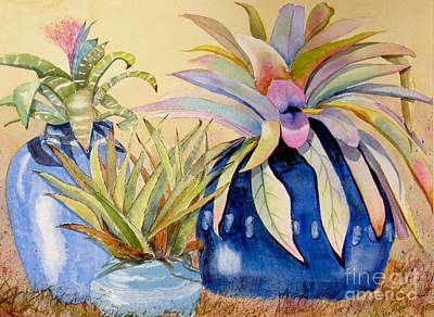 Wall Art - Painting - Blue Pots by Midge Pippel