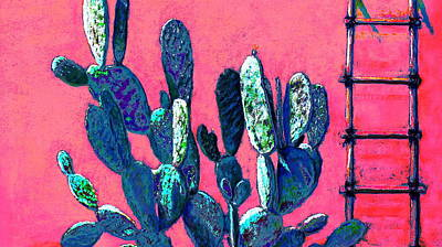 Digital Art - Blue Prickly Pear by M Diane Bonaparte