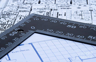 Technical Photograph - Blue Prints And Ruler by Blink Images