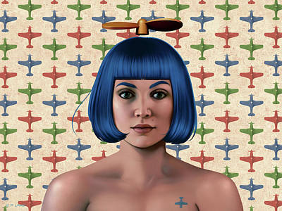 Mixed Media - Blue Propeller Gal by Udo Linke