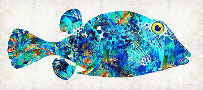 Colorful Tropical Fish Painting - Blue Puffer Fish Art By Sharon Cummings by Sharon Cummings