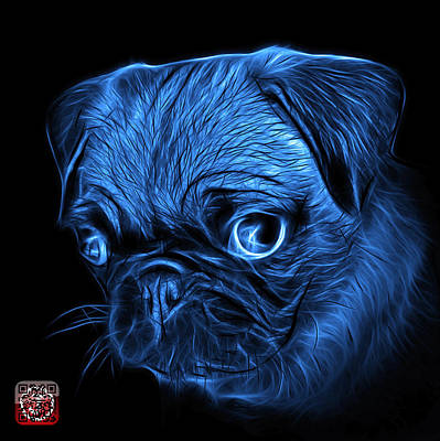 Digital Art - Blue Pug -  9567 Fs B by James Ahn