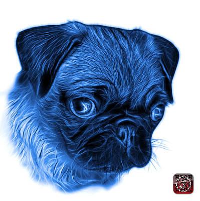 Digital Art - Blue Pug -  9567 Fs W by James Ahn