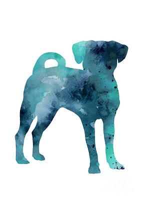 Puggle Painting - Blue Puggle Minimalist Painting by Joanna Szmerdt