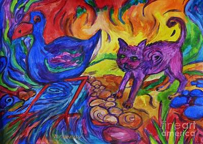 Painting - Blue Pukeko And Pink Pussy Cat by Dianne  Connolly