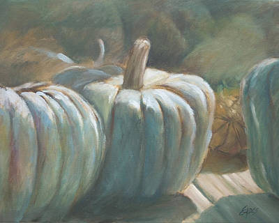 Blue Pumpkins Art Print by Linda Eades Blackburn