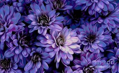 Mixed Media - Blue Purple Mums Chinese Lantern Effect by Rose Santuci-Sofranko