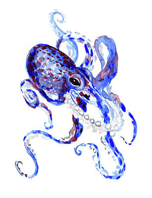 Painting - Blue Purple Octopus by Suren Nersisyan
