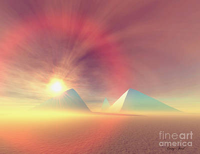 Blue Pyramids Print by Corey Ford