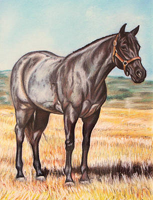 Blue Quarter Horse Art Print by Lucy Deane