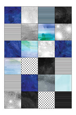 Blue Quilt Pattern Art Print