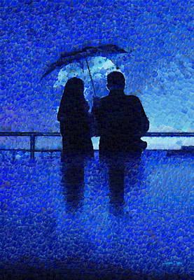 Palette Knife Digital Art - Blue Rain - Da by Leonardo Digenio