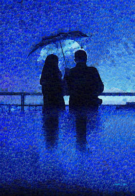 Platform Painting - Blue Rain - Pa by Leonardo Digenio