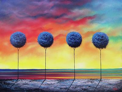 Modern Tree Painting - Blue Rapture by Rachel Bingaman
