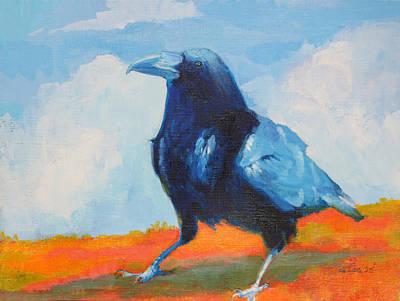 Wall Art - Painting - Blue Raven by Pam Little