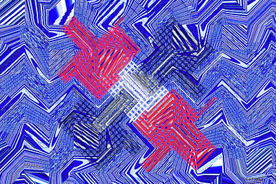 Digital Art - Blue Red And White Janca Abstract Panel by Tom Janca