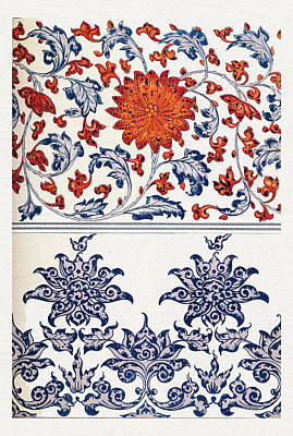 Mixed Media - Blue Red Orange And White Colorful Flowers Wall Art Prints by Wall Art Prints