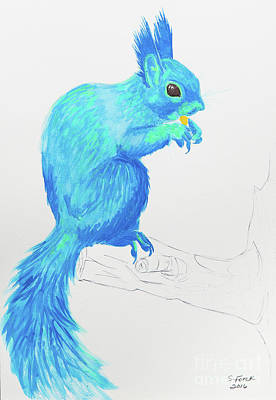 Painting - Blue Red Squirrel by Stefanie Forck