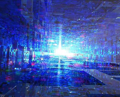 Abstract Digital Art - Blue Reflecting Tunnel by Dr-Pen