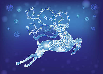 Digital Art - Blue Reindeer Christmas Card by Serena King