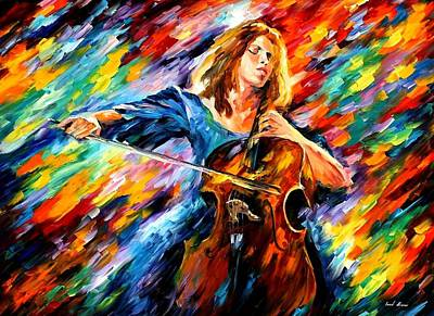Cellists Painting - Blue Rhapsody by Leonid Afremov